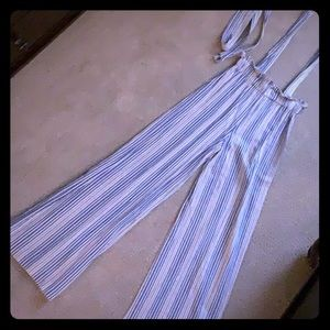 High waisted Linen Striped Overalls
